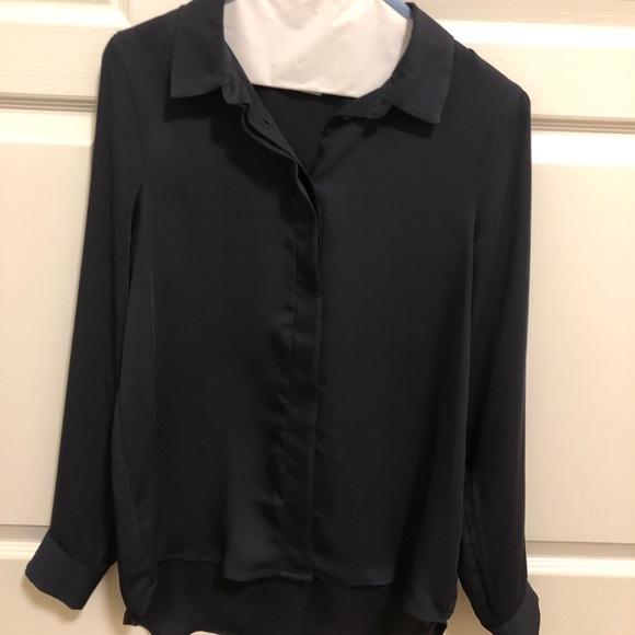 H&M Dark Blue Blouse with Hidden Buttons